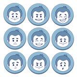 Sistema de nueve expresiones faciales Fotografía de archivo