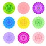 Sistema de nueve flores simétricas brillantes del vector Fotografía de archivo libre de regalías