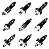 Sistema de nueve iconos del cohete o de la nave espacial aislados Fotografía de archivo libre de regalías