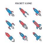 Sistema de nueve iconos del cohete o de la nave espacial aislados Foto de archivo libre de regalías