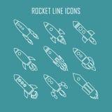 Sistema de nueve iconos del cohete o de la nave espacial aislados Fotos de archivo libres de regalías