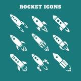 Sistema de nueve iconos del cohete o de la nave espacial aislados Imagenes de archivo