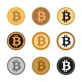 Sistema de nueve iconos del símbolo de Bitcoin imagen de archivo libre de regalías