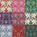 Sistema de nueve modelos inconsútiles coloridos. Fotografía de archivo