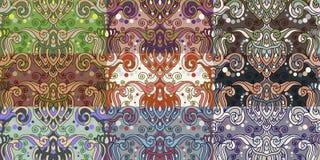 Sistema de nueve modelos inconsútiles coloridos. Imagenes de archivo