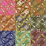 Sistema de nueve modelos inconsútiles coloridos. Enfermedad del vector Foto de archivo libre de regalías
