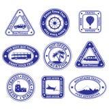 Sistema del viaje y sellos e insignias del turismo Imagen de archivo