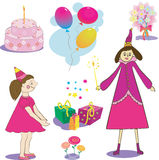 Sistema de objeto del cumpleaños Illustation de la torta de los regalos Fotografía de archivo libre de regalías