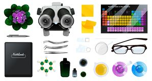 Sistema de objetos aislados de la química o de la biología fotografía de archivo libre de regalías