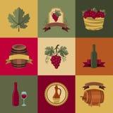 Sistema de objetos, de iconos para el vino y de restaurantes Imagen de archivo libre de regalías