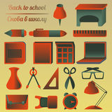 Sistema de objetos de la escuela y de la educación Imagen de archivo libre de regalías