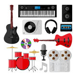 Sistema de objetos de la música y del sonido aislados en blanco Imagen de archivo libre de regalías