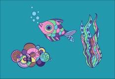 Sistema de objetos de la vida marina en estilo de la historieta Imagenes de archivo
