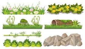 Sistema de objetos del bosque ilustración del vector