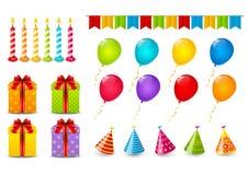 Sistema de objetos del cumpleaños ilustración del vector