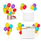 Sistema de objetos del cumpleaños Fotografía de archivo