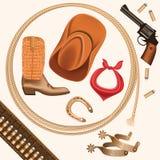 Sistema de objetos del oeste salvajes del vaquero aislados en blanco libre illustration