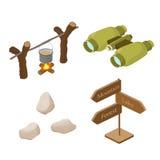 Sistema de objetos en el turismo, viaje stock de ilustración
