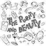 Sistema de objetos de la belleza y de la pureza ilustración del vector