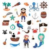 Sistema de objetos de la historieta del vector de los piratas Partido de las aventuras y del pirata para la guardería Niños avent ilustración del vector