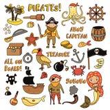 Sistema de objetos de la historieta del vector de los piratas Partido de las aventuras y del pirata para la guardería Niños avent libre illustration