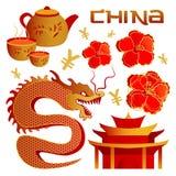 Sistema de objetos los elementos chinos de la tradición Sistema chino del icono del tema Ilustración del vector Foto de archivo libre de regalías