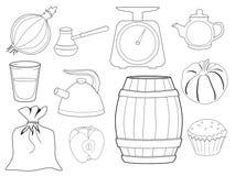Sistema de objetos y de comidas de la cocina Foto de archivo libre de regalías