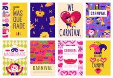 Sistema de ocho carteles del carnaval libre illustration