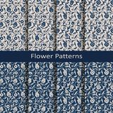Sistema de ocho modelos inconsútiles del vintage de la flor del vector diseño para empaquetar, cubiertas, materia textil ilustración del vector
