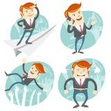 Sistema de officeman del inconformista: Hombre de la oficina que vuela una mirada al fu ilustración del vector