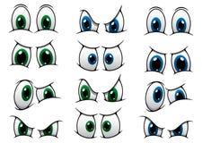 Sistema de ojos de la historieta que muestran la diversa expresión Foto de archivo