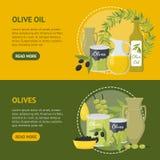 Sistema de Olive Oil Elements Banner Horizontal de la historieta Vector libre illustration