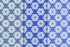Sistema de ornamentos florales Modelos inconsútiles azules verticales Fotografía de archivo