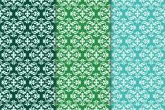 Sistema de ornamentos florales Modelos inconsútiles verticales verdes Imagen de archivo libre de regalías