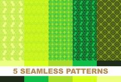 Sistema de ornamentos geométricos verdes Vector Fotos de archivo