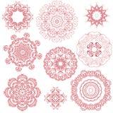 Sistema de ornamentos redondos de un color ilustración del vector