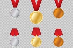 Sistema de oro, de bronce y de plata Medallas del premio aisladas en fondo transparente Ejemplo del vector del concepto del ganad Fotos de archivo