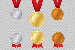 Sistema de oro, de bronce y de plata Medallas del premio aisladas en fondo transparente Ejemplo del vector del concepto del ganad Fotos de archivo libres de regalías