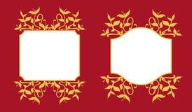 Sistema de oro de la decoración del marco de los brotes de la planta Fotografía de archivo