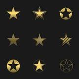 Sistema de oro de la estrella Imagen de archivo libre de regalías