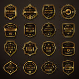 Sistema de oro retro y de insignias superiores negras de la calidad ilustración del vector