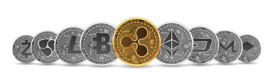Sistema de oro y de monedas crypto de plata Fotos de archivo libres de regalías