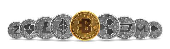 Sistema de oro y de monedas crypto de plata Fotos de archivo