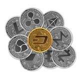 Sistema de oro y de monedas crypto de plata Imágenes de archivo libres de regalías