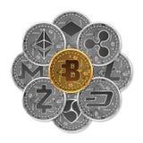 Sistema de oro y de monedas crypto de plata Imagenes de archivo