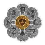 Sistema de oro y de monedas crypto de plata Foto de archivo libre de regalías