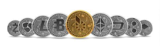 Sistema de oro y de monedas crypto de plata Fotografía de archivo