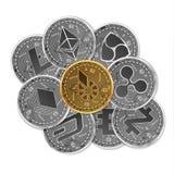 Sistema de oro y de monedas crypto de plata Imagen de archivo libre de regalías