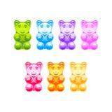 Sistema de osos gomosos coloreados brillantes Vector Imagen de archivo libre de regalías