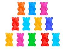 Sistema de osos gomosos multicolores del caramelo Foto de archivo libre de regalías